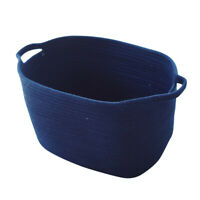 Cotton Woven Laundry Storage Basket with Handles for Kids Nursery Room Blue