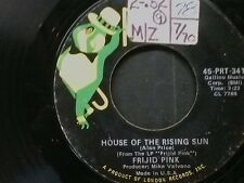 """FRIJID PINK 45 RPM """"House of the Rising Sun"""" & """"Drivin Blues"""" VG- condition"""