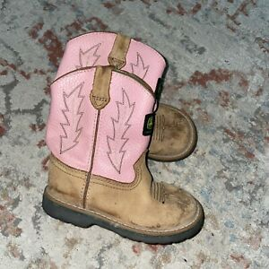 JOHN DEERE JD2185 Pink Shaft Brown Leather BOOTS ~ Girls Youth 7.5 M