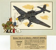 """SERIE n°3 /6 CHROMOS TINTIN L'AVIATION (1939-1945)"" Col. VOIR & SAVOIR / HERGE"