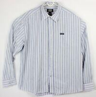 Avirex Men XXL 2XL Button Front Dress Shirt Long Sleeve White Blue Vert Striped
