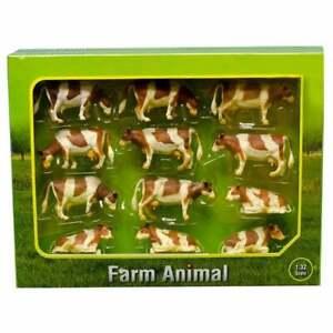 Kids Globe Farm Animals 12 Cows BROWN & White 1:32  571968  UK Seller