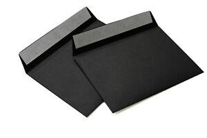 25 Briefumschläge schwarz DIN C6 114x162mm 120g/m² haftklebend (514A)