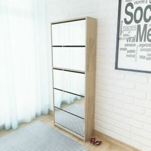 vidaXL Shoe Cabinet 5-Layer Mirror Oak 63x17x169.5cm Rack Storage Organiser