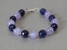 Amethyst Light & Dark Purple Natural Gemstone Gorgeous Bead Bracelet Nice!!