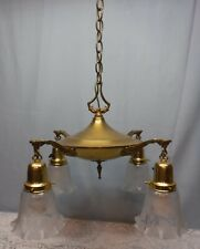 Antique Brass Pan Light Fixture 4 Arm Clear Etched Ruffled Glass Shades