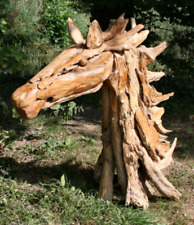 Wooden Horse Head Made From Teak Wood Chips 80 cm High Life Like