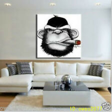 Cigar Monkey Hand painted Animals Oil Painting on canvas NO Frame 24