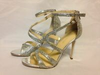 Ivanka Trump Hotis 2 Rhinestone Stiletto Heel Sandal Gold Texture  New with Box
