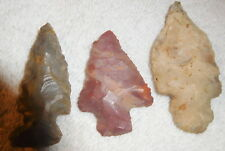 Antique Indian NATIVE AMERICAN,ARROWHEAD,LOT OF 3,ESTATE  COLLECTION,rock,tips