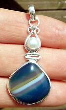 Beau pendentif original ARGENT MASSIF 925 avec AGATE BLEUE et perle d'eau douce
