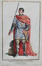 BERTRAND DU GUESCLIN Portrait GRAVURE Touze PIERRE DUFLOS Costumes XVIII°