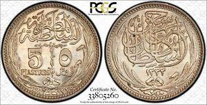 EGYPT , 5 PIASTRES HUSSEIN KAMIL 1917 PCGS MS 64 ( ST12 ) , RARE
