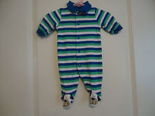 Just One Year Boys Newborn Cotton Footed Sleeper Striped Dog Face feet Blue Whit