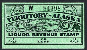 USA Alaska Territory Mint Tax-Paid Liquor Revenue Stamp - for 3 Gallons or Less