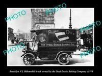 OLD POSTCARD SIZE PHOTO OF BROOKLYN NY OLDSMOBILE STEEL DRAKE BAKERY CAR c1910