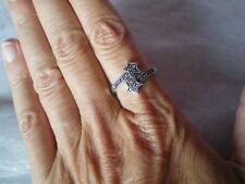 Marcasite star ring, 0.17 carats, size R/S, in 3.19 grams of 925 Sterling Silver