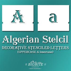 STENCILED Alphabet Font Algerian, Letters Numbers Symbols #073 Typography DIY