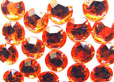 200 Tangerine Orange 10 mm Round Acrylic Rhinestone Gems Faceted Flatback Sew on