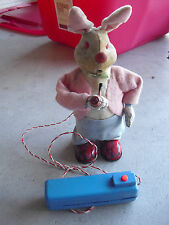 RARE 1950s San Japan Battery Operated Pipe Smoking Rabbit Toy