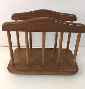 Vintage Wood Napkin or Mail Holder Mid Century Modern Dark Brown Footed Bottom
