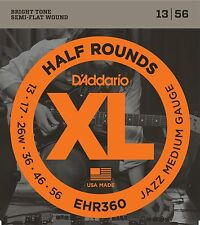 D'Addario EHR360 Half Rounds Stainless Steel Electric Guitar Strings 13-56