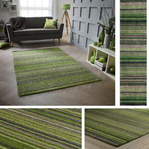 Carter Green Olive Beige Rug Runner ALL SIZES 100% Wool Stripe Pattern Striped