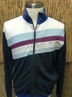 Vintage Original Penguin – Men's Long Sleeve Blue Purple White Striped Sweater L