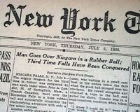 JEAN LUSSIER Daredevil Over Niagara Horseshoe Falls RUBBER BALL 1928 Newspaper