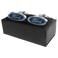 Ford Blue Oval Cufflinks Quality Cufflink Gift Box Set Wedding Fathers Birthday