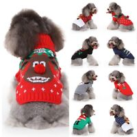 XMAS Pet Christmas Costume Dog Cat Warm Sweater Coat Knit Jacket Jumper Clothes