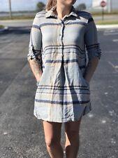 Zara Plaid Long Sleeve Dress Blue Size S