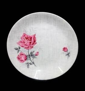 Vintage mid century modern pink roses J&G Meakin SOL cake plate