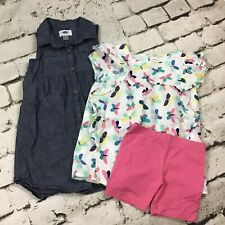Girls Sz 4/5 Clothing Lot Old Navy Denim Dress Carters Butterfly Outfit 3Pcs.