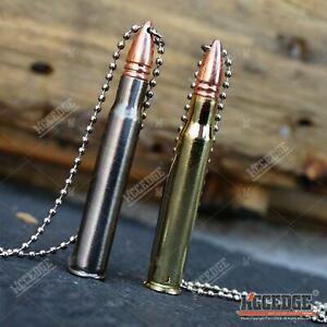 "5"" METAL BULLET NECK KNIFE Survival Military Charm Pendant Necklace"