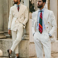 White Men Suits Groom Double Breasted Peak Lapel Formal Tuxedos Blazer Pants New