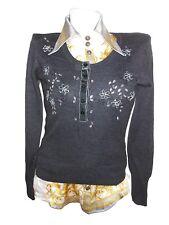 BONITA Womens Vtg Knit Jumper Blouse Embroidery Embellished Merino Wool sz S X74