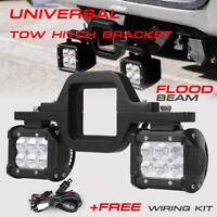 "Trailer Tow Hitch Receiver Mount Bracket +4"" LED Light Bar Reverse Offroad Truck"
