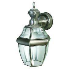 150 Degree Silver Hanging Carriage Wall Lantern Sconce With Clear Beveled Glass