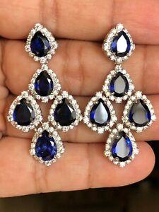 19Ct Pear Cut Blue Sapphire Syn Diamond Chandelier Earrings White Gold FN Silver