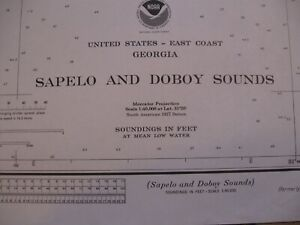 NAUTICAL NAVIGATIONAL CHART #11510 - SAPELO & DOBOY SOUNDS - GEORGIA