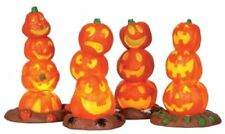 Lemax Spooky Town Halloween Lighted PUMPKIN STACKS Set of 4