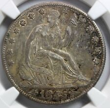 "1855 - O, 50 Cent Seated Liberty, with ""Arrows"". NGC A.U. 50"