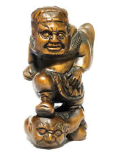"Y6999 - 2"" Hand Carved Boxwood Netsuke : Zhong Kui & Oni Monster Caught"
