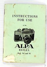 Original Alpa Reflex 9d and 9f Manual, 32 Pages