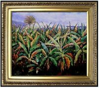 Framed Renoir Pierre  Banana Trees Repro, Hand Painted Oil Painting 20x24in
