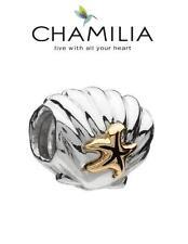 Genuine chamilia 925 de plata y 14k oro Concha con estrellas de mar encanto grano RRP £ 95