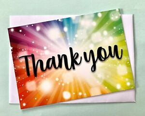 Rainbow Burst Thank You A6 Landscape Greetings Postcard Note Cards 1-100 Packs