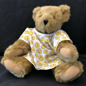 """Vermont Teddy Bear plush tan Gray jointed hospital gown Get Well Feel Better 17"""""""