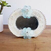 "Murano Venetian glass small vanity mirror blue flowers on wooden stand 5.5X6"""
